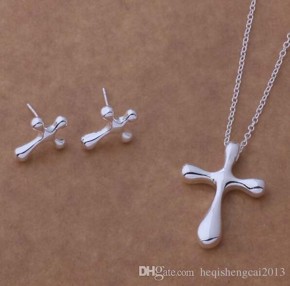 Moda charme pingente de cruz 925 prata Brinco colar conjuntos de jóias 10 set / lote