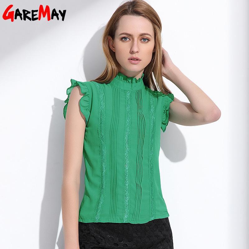 Blusa Chiffon Das Mulheres Sem Mangas Tops Femme Verão Feminino Fungo Collar Blusa de Malha Verde Elegante Roupas Ropa Mujer GAREMAY q171135