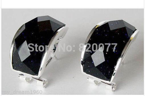 par brincos relógio de quartzo jóias esterlinas gancho de prata 925 contas de vidro sólido de prata brinco preto atacado [