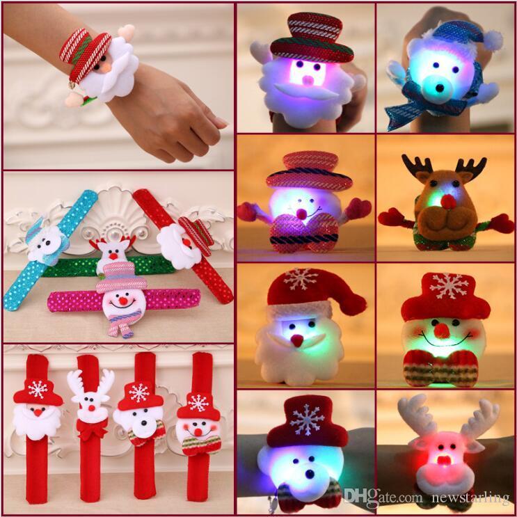 Good Quality LED Sequin Christmas Bracelet Wristband Cartoon Deer Santa Claus Snowman Pat Circle Kids Toys Xmas Decorations Party Supplies