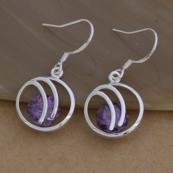 Мода (производитель ювелирных изделий) 20 шт. Много большой фиолетовый круг Алмаз серьги 925 стерлингового серебра ювелирные изделия заводская цена мода