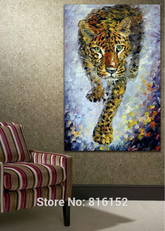 Leopar Afrika Vahşi Hayvan Palet Bıçağı Yağlıboya Baskılı Ev Oturma Odası için Tuval Duvar Sanatı Resim Baskılı Duvar Dekor