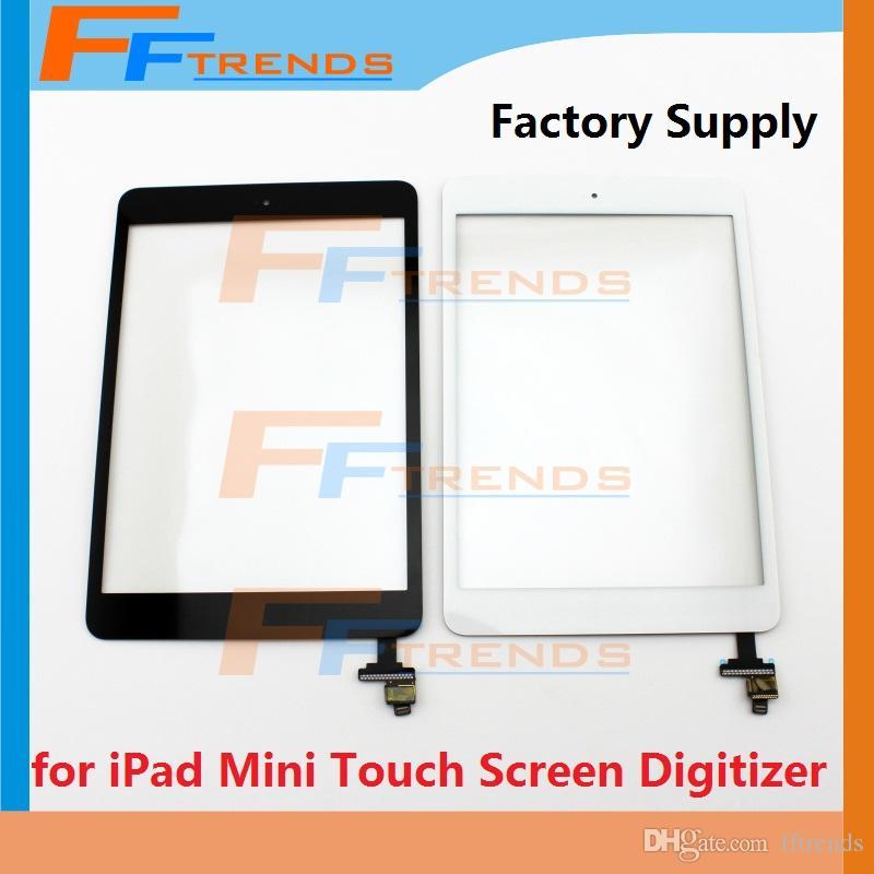 Für iPad Mini 1 2 Touchscreen Digitizer mit Home Button Adhesive und IC Ersatz Ersatzteile Hohe Qualität Schwarz Weiß Werksversorgung