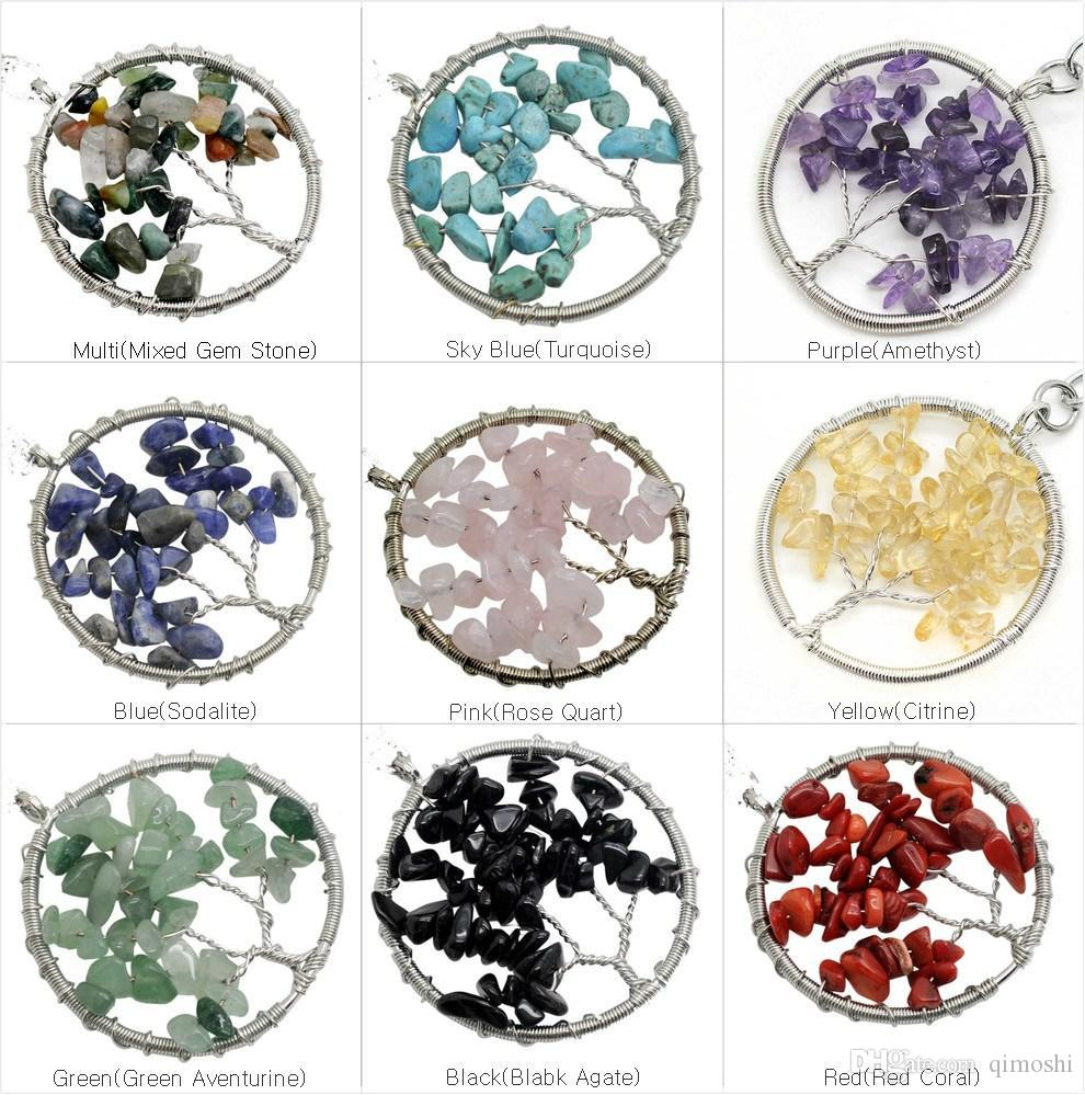 2018 Natural stone Gravel Round Shape gemstone jewelry chip stone beads semi precious stone crystal Keychain pendents necklace for women