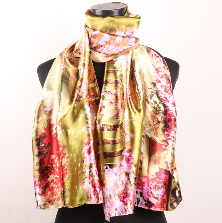 1pcs Red Pink Cherry Blossoms Fences Gold Women's Fashion Satin Oil Painting Long Wrap Shawl Beach Silk Scarf 160X50cm