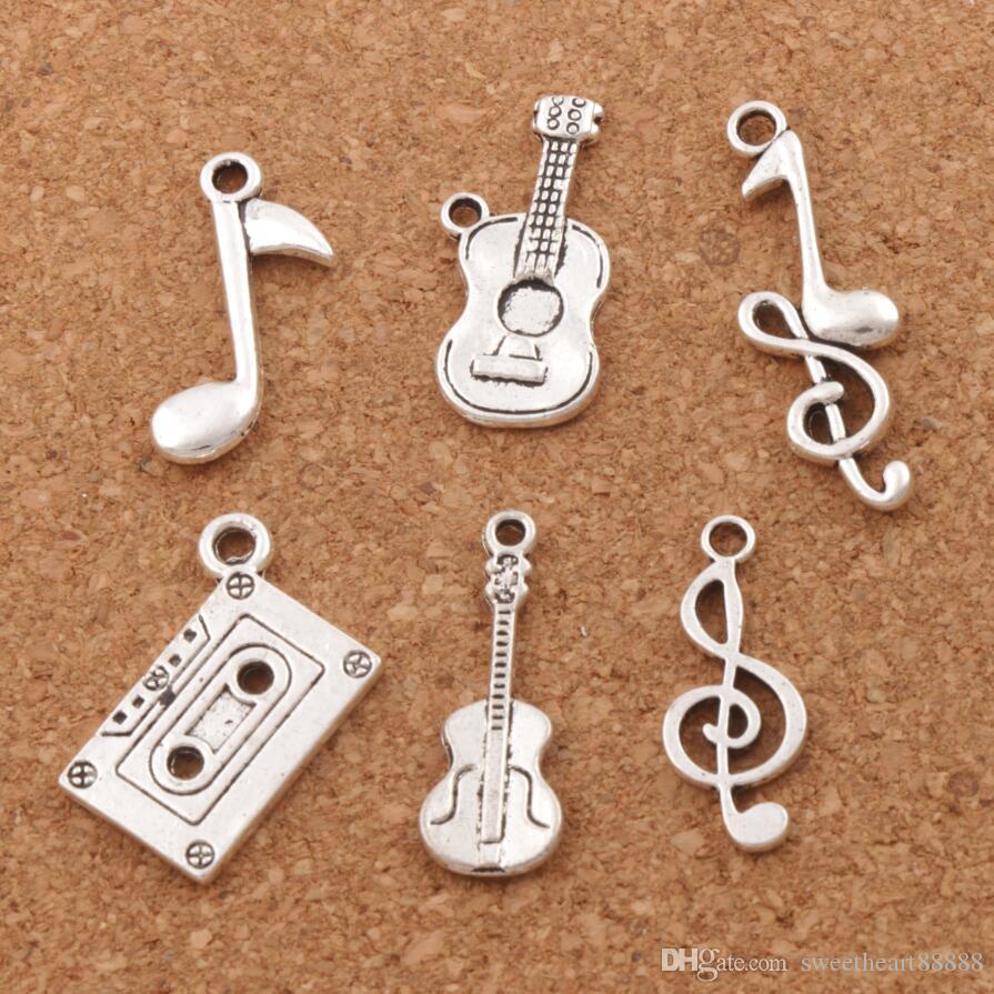 Nota Tema de la música clave de agudos octava granos del encanto de la guitarra 120 unids / lote Antiqued colgantes de plata joyería DIY LM41