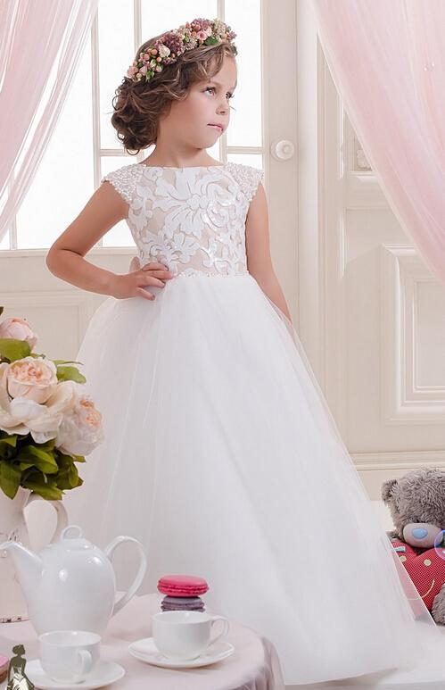레이스 진주 숄더 Tulle Flower Girl Dresses 빈티지 어린이 미인 대회 드레스 아름다운 꽃 파는 소녀 웨딩 드레스 F02