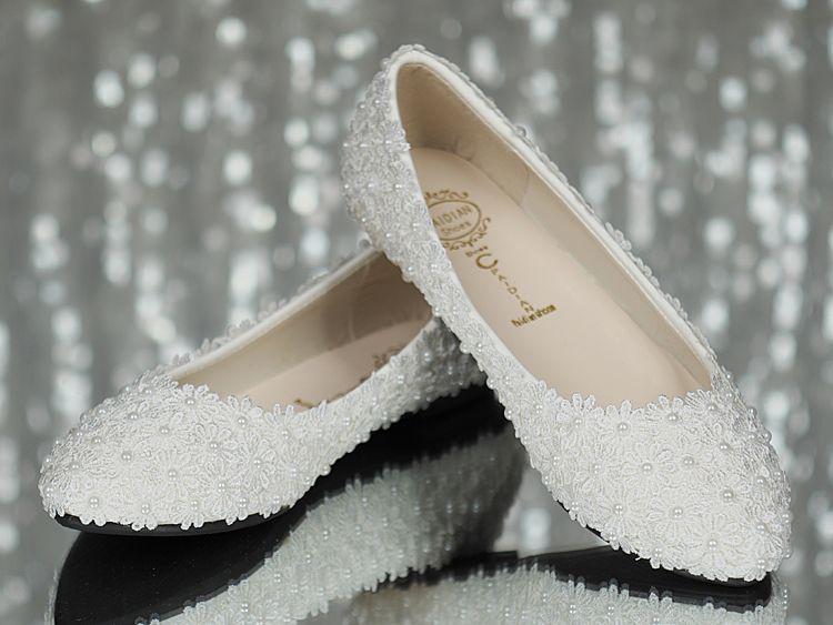 Perla Nuziale bianca del pizzo di Flattie poco costosa in azione Pattini convenzionali del partito di promenade di trasporto libero delle signore delle scarpe nuziali di trasporto libero pronte per spedire 2015