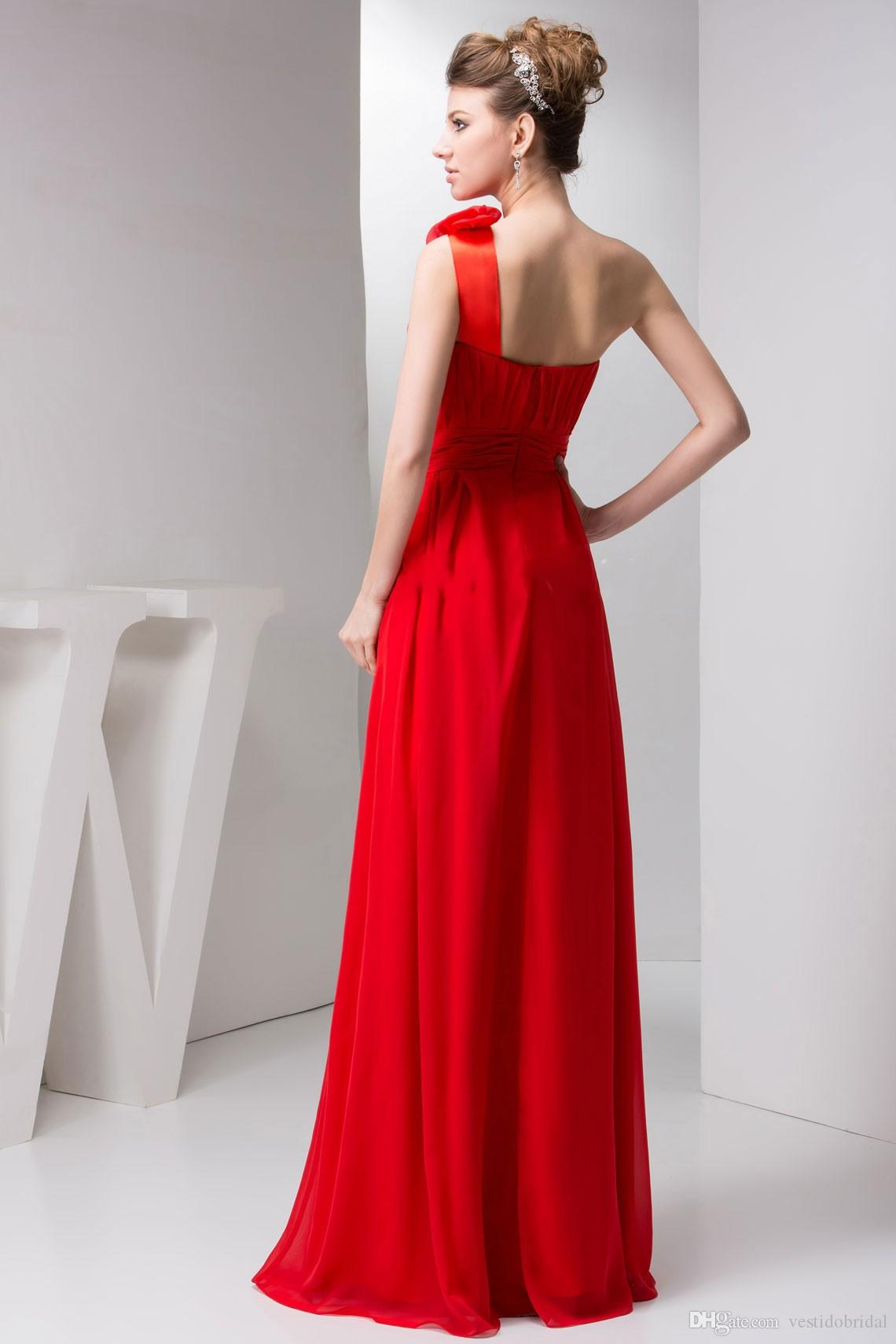 Cheap simple red one shoulder bridesmaid dress flower long floor simple red one shoulder bridesmaid dress flower long floor wedding party dress junior maid of honor ombrellifo Gallery
