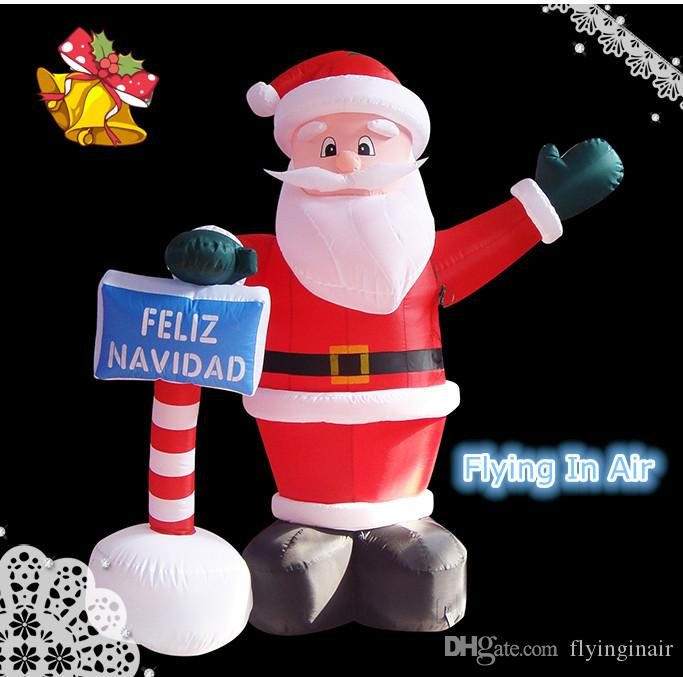 2m - 5m Weihnachtsaufblasbarer Weihnachtsmann mit Zeichen für Weihnachten