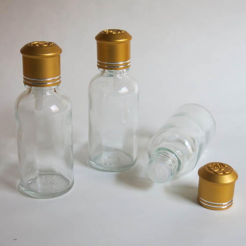 맑은 에센셜 오일 병에 도매 30ml 나사, 리듀서 드로퍼와 뚜껑 분명히 뚜껑이있는 투명 유리 병
