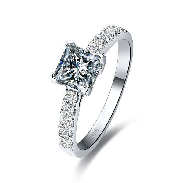 Dropshipping 1CT 공주 합성 다이아몬드 약혼 반지 여성을위한 18K 금 도금 결혼 반지 순은 고급 보석
