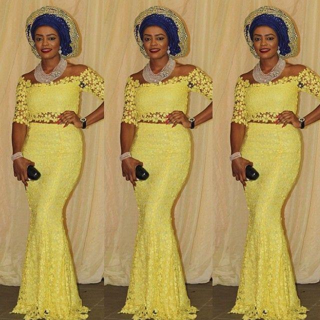 2016 duas Peças fora Do Ombro Prom Dresses SHeer Lace Sereia Vestido de Festa Vestido de meia manga amarela Nigeriano Mulheres Pagaent Vestidos Vestidos