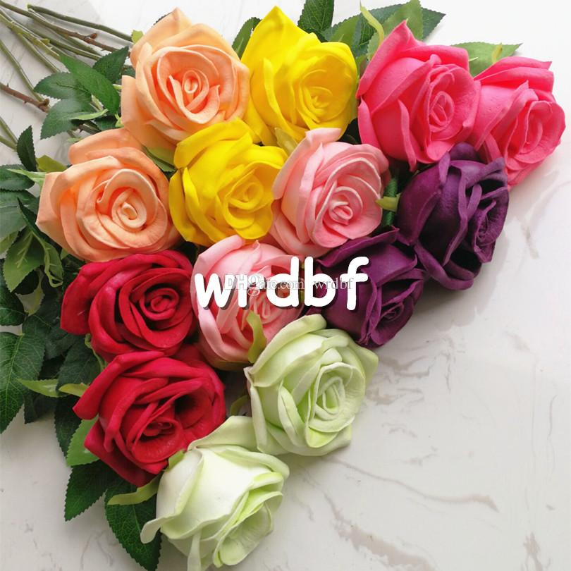 one Real Touch Rose Fake Flower PU Roses Pink/red/blue/green/yellow 60cm for Wedding Party Artificial Decorative Flowers 7 Colors