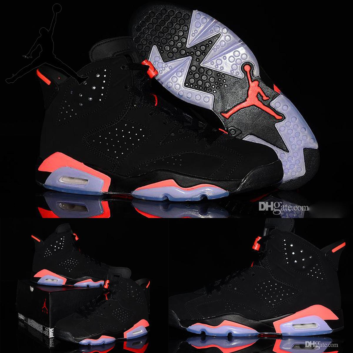 size 40 4c6a6 fcd03 Nike Air Jordan 6 Retro VI Black Infrared 23 Gs Mens Womens Basketball  Shoes,Original Nike AJ6 J6 Jordan6 Black Red For Men Women Sneakers  Basketball ...