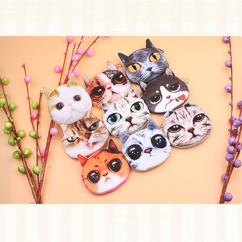 جديد القط عملة محفظة السيدات الأطفال 3d الطباعة القطط الحيوان وجه كبير تغيير الأزياء مواء ستار الكرتون سستة حقيبة