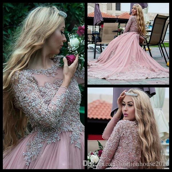 2017 Dusty Pink Ball Gown Long Sleeves Evening Dresses Muslim Prom Dresses Lace Appliques Crystal Beads Puffy Red Carpet Runway Dresses