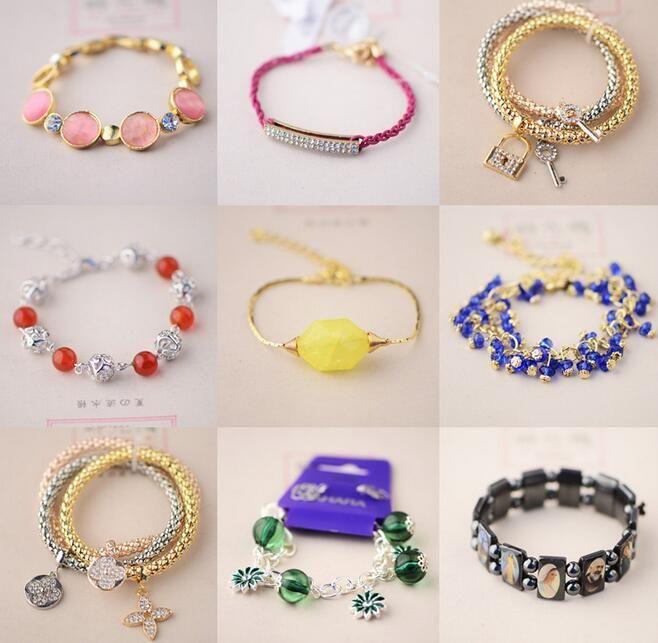 10 stks / partij Mix Style Crystal Kralen Armbanden Beaded Strands voor Mode-sieraden Gift Craft CR013 * Gratis schip