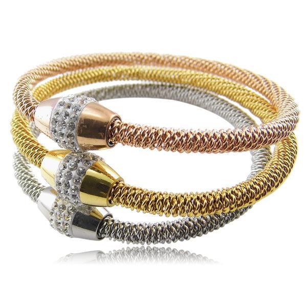 Braccialetti chain della catena della maglia dei cavi dell'acciaio inossidabile di stile di Hotsale Drill CZ Clasp Women Fashion Bangle
