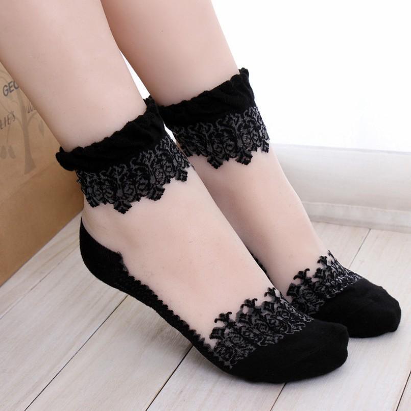 Девушки Популярные Lace Короткие носки барышня принцесса носки кристалл прозрачный кружевной гольфы детские носки 24pairs