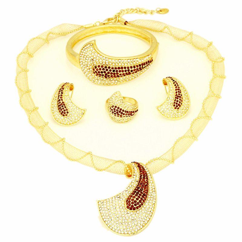 Free shipping Jewellery sets Dubai designer 18K gold plated ...