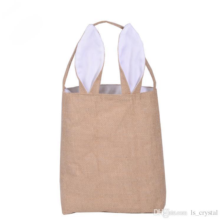 Mode bunny oren mand tas opvouwbare katoen en lijn geassorteerde winkelen handtassen Pasen festival cadeau 10 stks / partij SK817