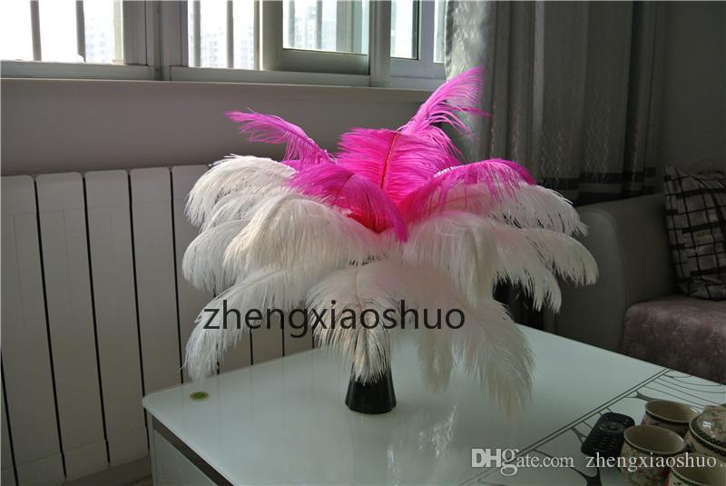 Darmowa Wysyłka 100 sztuk / partia 14-16inch (35-40 cm) Hot Pink and White Ostrich Pióra Plumes Ślubne Centrum Ślubne Piór Wystrój Domu Decor
