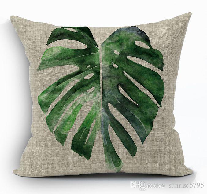 hojas verdes tropicales funda de cojín naturaleza banan hoja tiro funda de almohada para sofá cama silla sofá 45 cm cuadrado capa de almofada