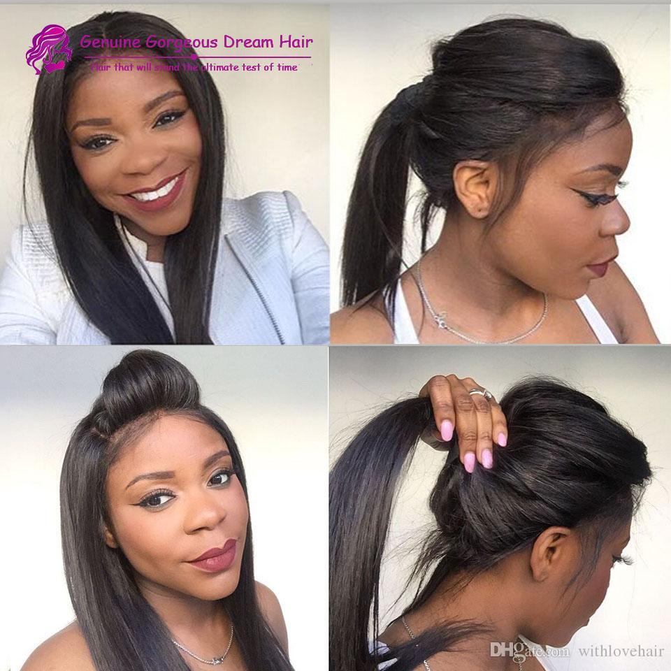 Бразильские волосы прямые человеческие волосы кружева перед парики 130% плотность полный шнурок человеческих волос парики для чернокожих женщин полный парики шнурка