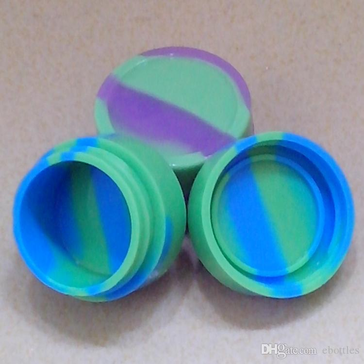 Hot Sell Nonsolid Color & Pure Color 7ml Silicone Container Jars Dab Wax Round Reusable Silicone Container Silicone Jars Box Fedex
