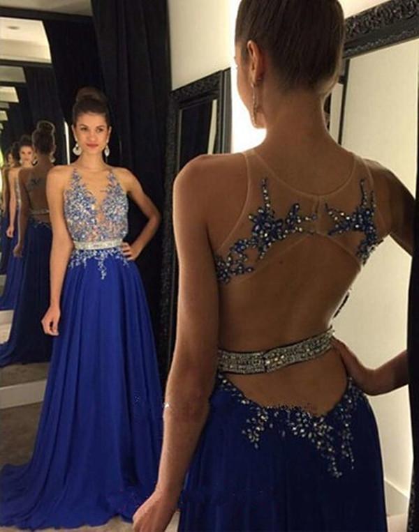섹시 댄스 파티 드레스 섹시 V 넥 복장에 싸고 긴 들러리 드레스 드레스 구슬 로얄 블루 레이스 긴 롱 쉬폰 원단