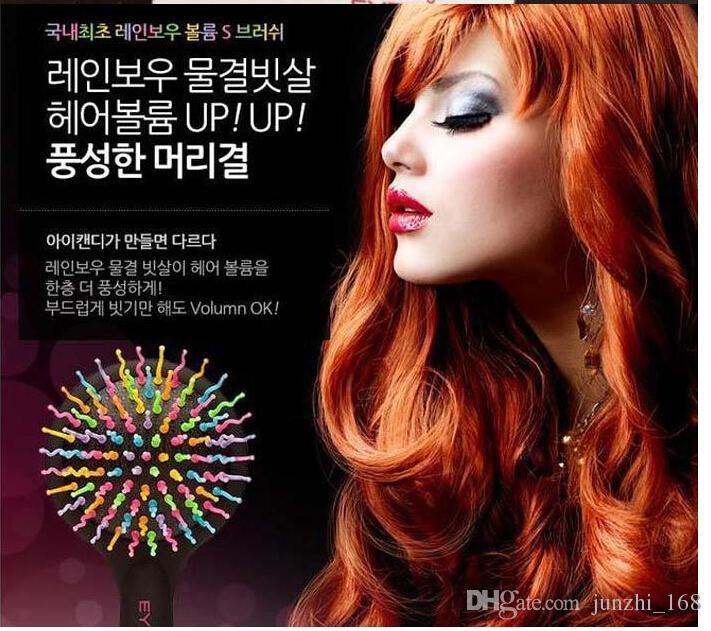 شحن مجاني 3 لون يمكن مشط ماجيك الشعر فرشاة الشعر صالون مشط rainbow فرشاة الأزياء مشط مكافحة تشابك فرشاة تدليك 10 قطع