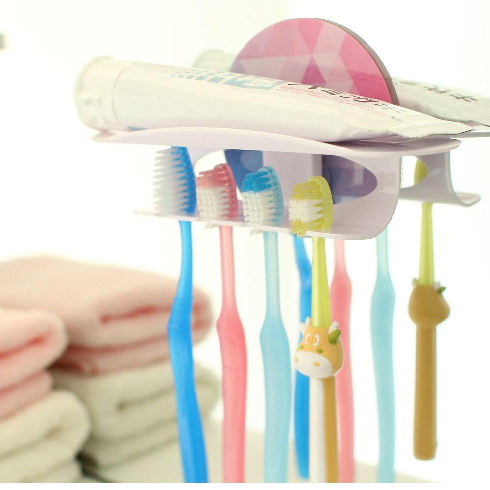 الأسرة مريحة قابلة لإعادة الاستخدام اكسسوارات الحمام ماجيك فرشاة الأسنان معجون الأسنان حامل 4 المشابك هوكس عصا ، dandys