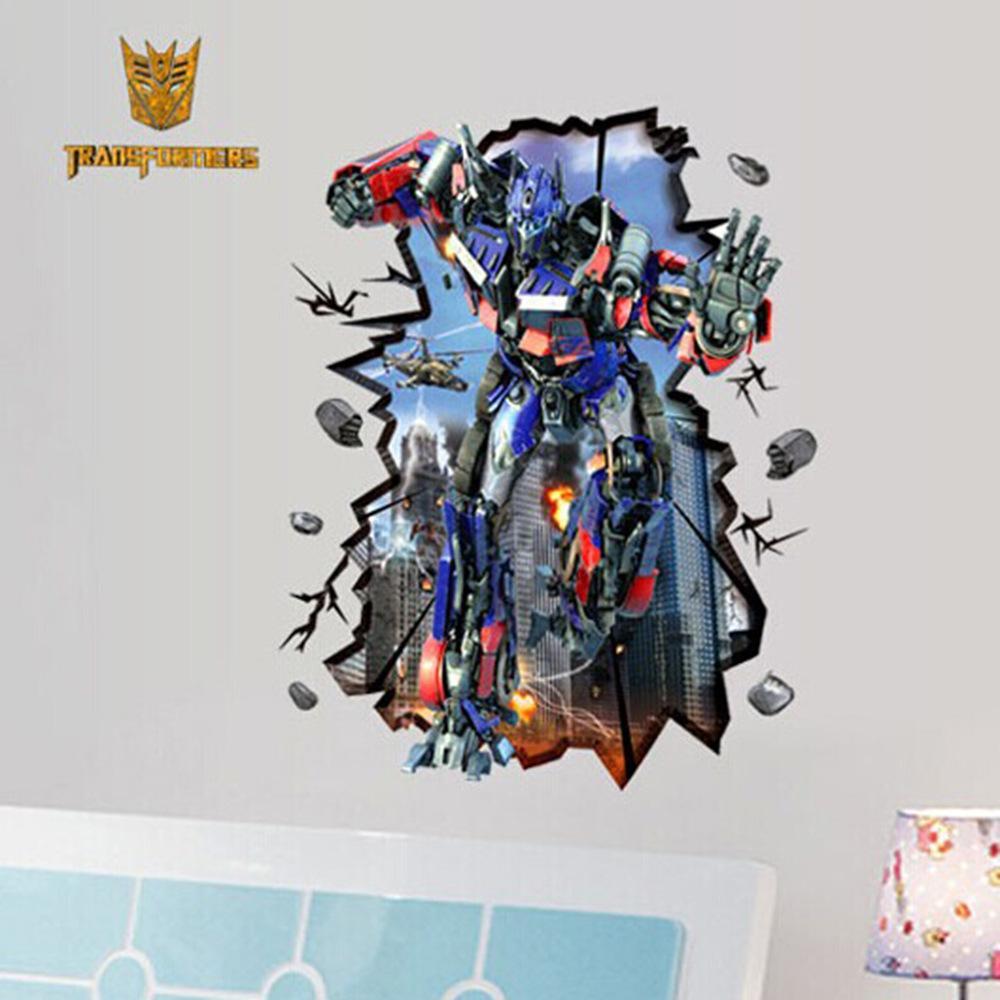3D Karikatür Robot duvar çıkartmaları Ev Dekor Çocuk duvar kağıdı Çıkartmalar Çocuklar Parti Dekorasyon Noel Duvar Sanatı 70 * 100 cm