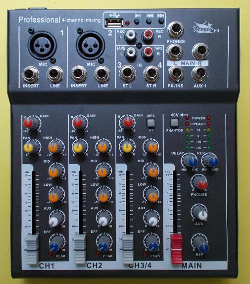 Professional 4 Channel Build In Vocal Effect USB MP3 Decode 48V Phantom  Power Supply DJ Audio Mixer Mixing Console Sound Mixers Best Dj Mixer From