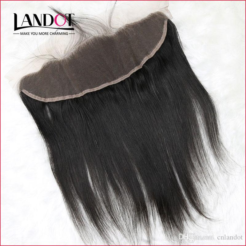 """Grade 8A Peruvian Silky Straight Lace Frontal Closure Size 13*4"""" Full Lace Frontal 100% Unprocessed Virgin Human Hair Closures Natural Black"""