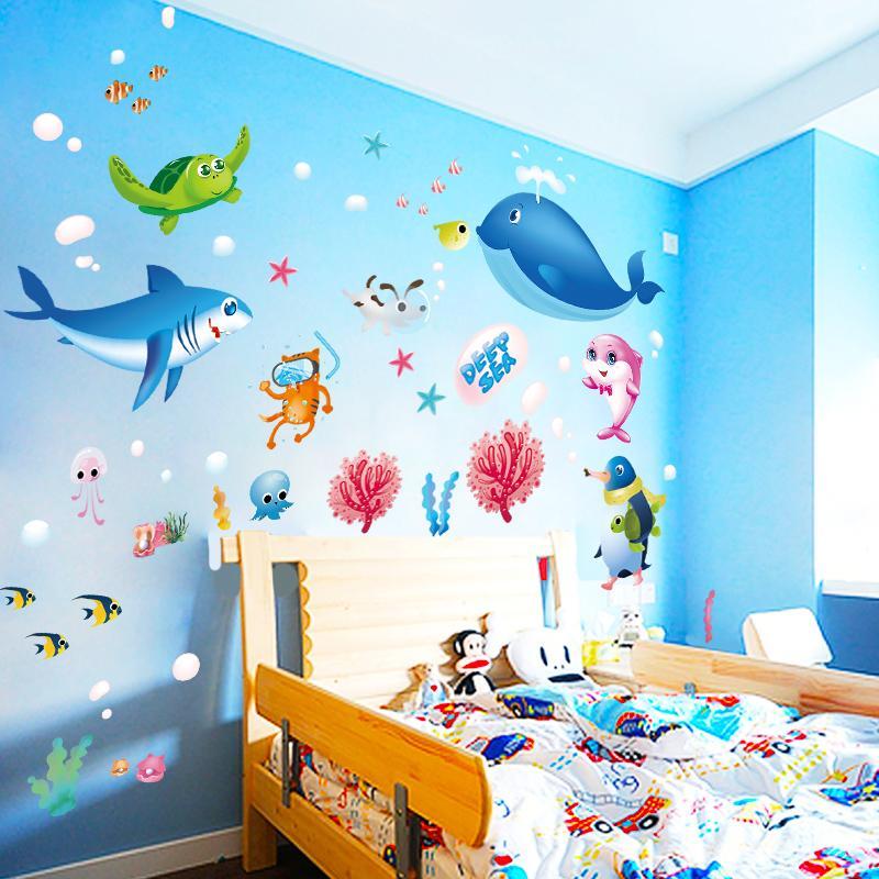 Cartoon ocean fish wall stickers for kids rooms bedroom nursery bathroom tile home decorations decals children murals