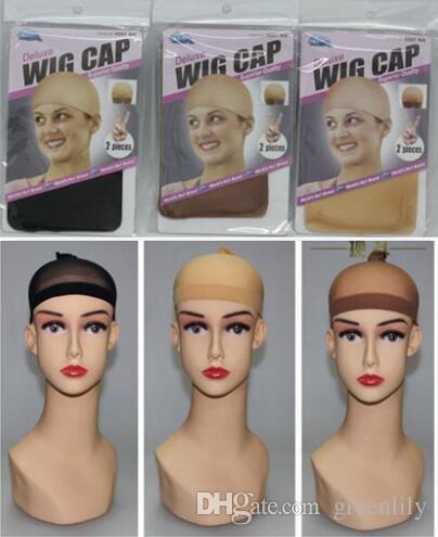 Peruca Tampas de malha 2 peças / pacote Preto / marrom / bege cor deluxe tampa da peruca alta elasticidade malha de tecelagem cap para WIG alta qualidade