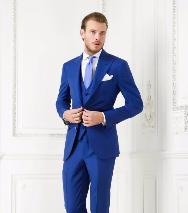2016 Fashion Blue Groom Tuxedos Wedding Suits For Men Groomsman Suit Jacket Pants Tie