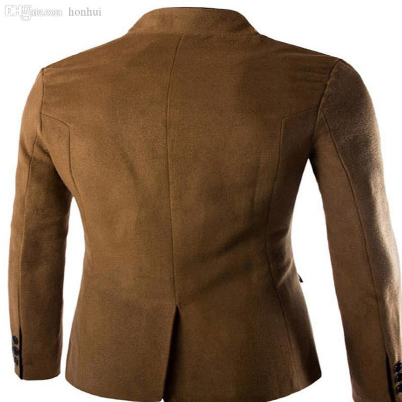 가을 - 가을 겨울 뜨거운 판매 패션 새로운 청소년 인기있는 스타일 한국어 양모 남성 칼라 레저 작은 중국 튜닉 전체 정장 남성 코트