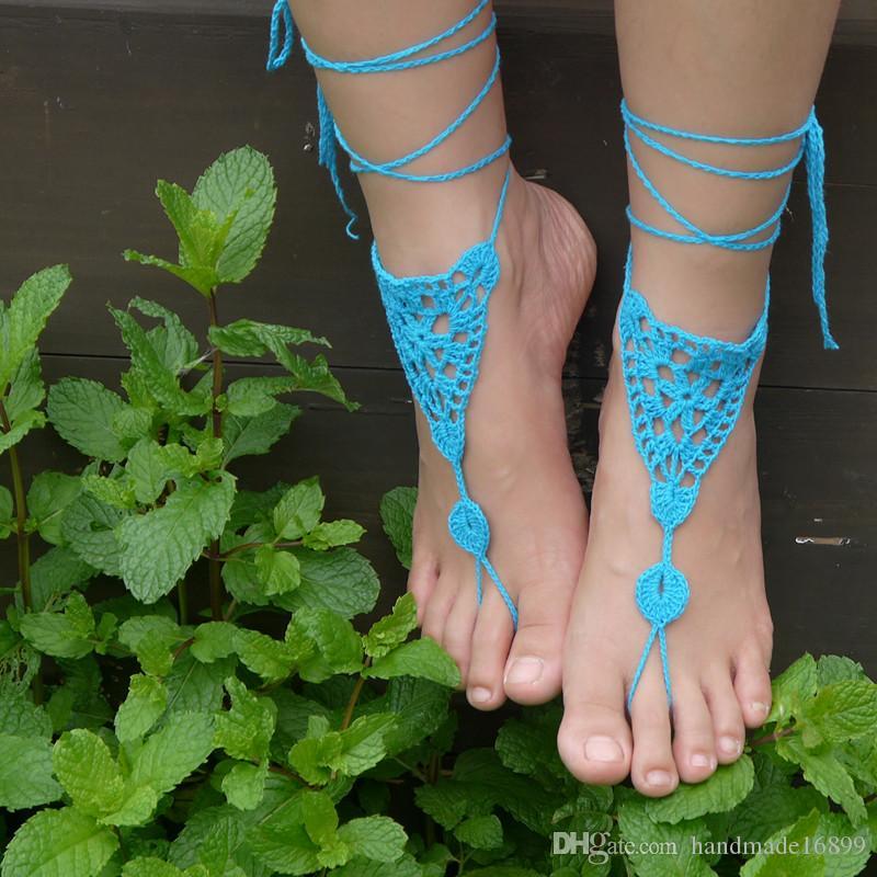 Spiderweb inspiriert - weiß - Frauen häkeln Dreiecke Schuhe handgemachte Design Footless Sandalen Strand Hochzeit Spitze Trending Schuhe