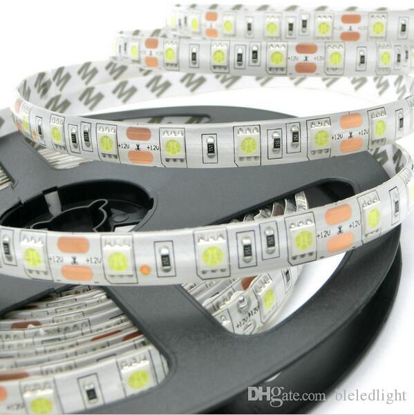 Högkvalitativ LED-remsa 5050 SMD Röd Blå Grön Gul Orange Varm Vit Kall Vit 5m 300led Vattentät LED Strip Light