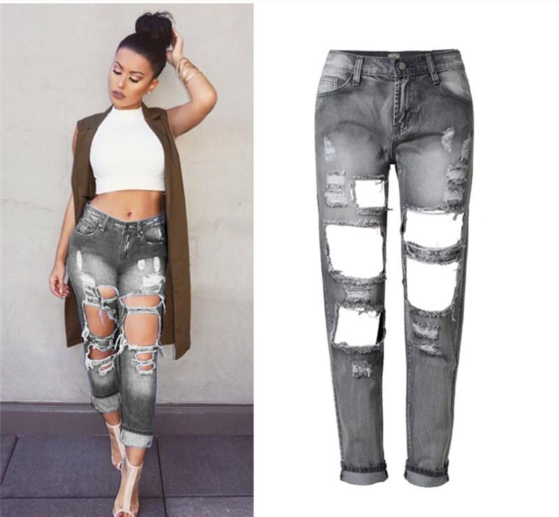 available outlet store a few days away 2019 Women Straight Midnight Boyfriend Ripped Jeans Super Distressed Big  Holes Loose Denim Jeans Bleach Plus Size Jeans Bottoms Up From ...