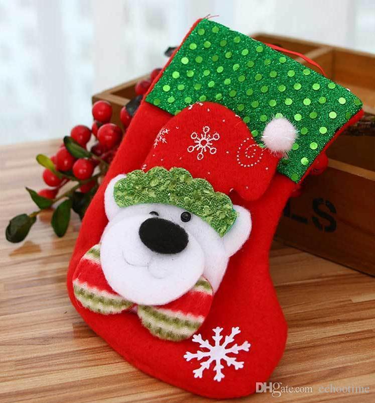 Weihnachtsstrumpf Santa Schneemann Hirsch Socke Geschenk Tasche Weihnachtsbaum