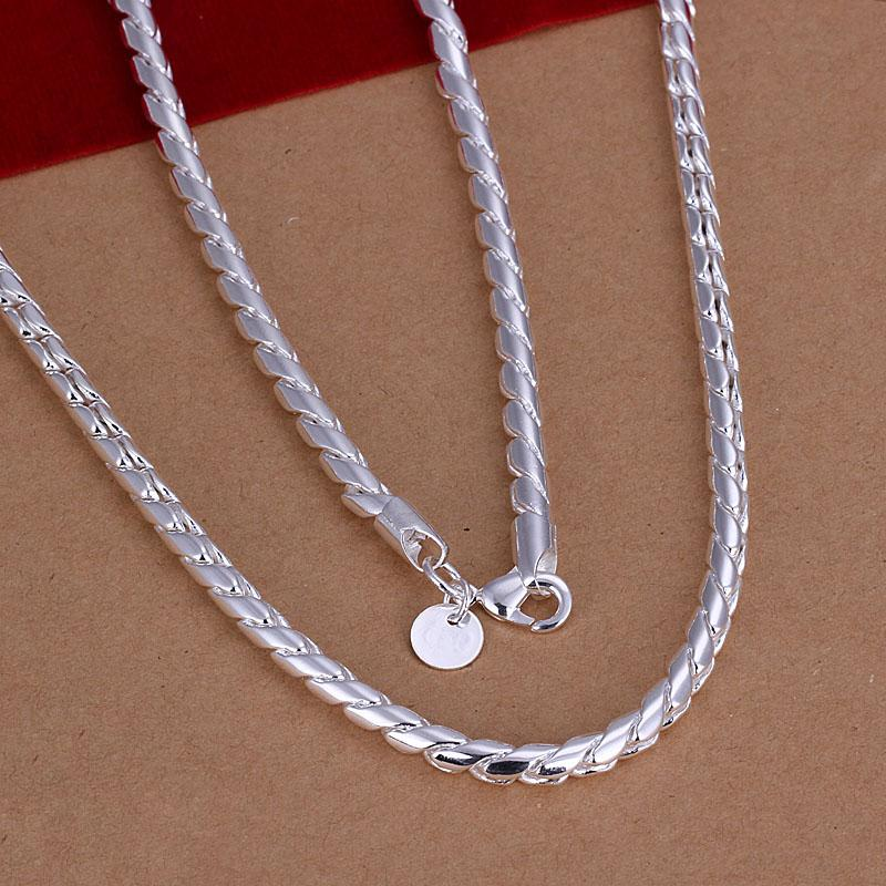 Fashion Men's Jewelry Plated 925 sterling silver twisted rope chain necklace 4MM X20inches Top quality low price free shipping