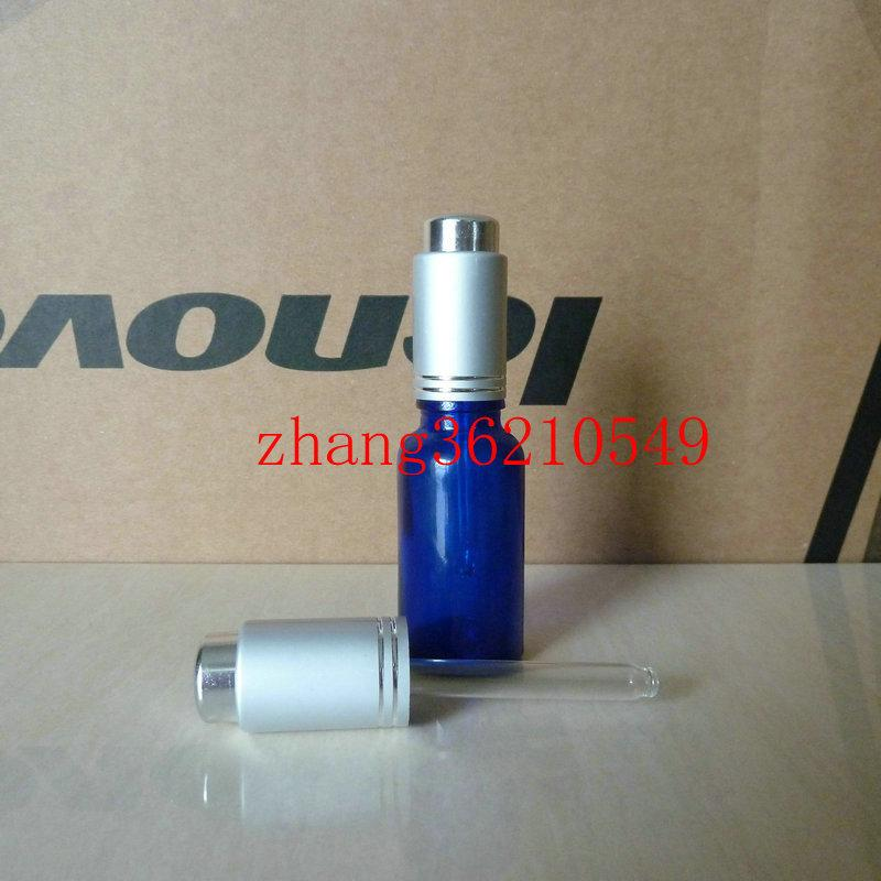 20ml 파란색 유리 에센셜 오일 병 알루미늄 프레스 매트 실버 dropper 모자와 함께. 오일 병, 에센셜 오일 컨테이너