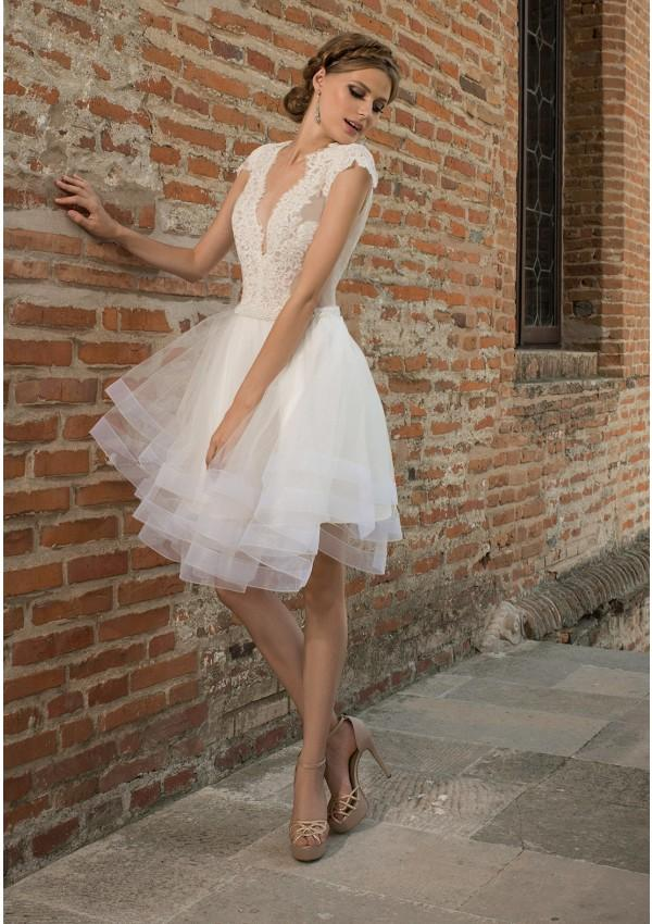 2016 Short Bohemian Wedding Dresses Keyhole Back Deep V Neck Sheer ...