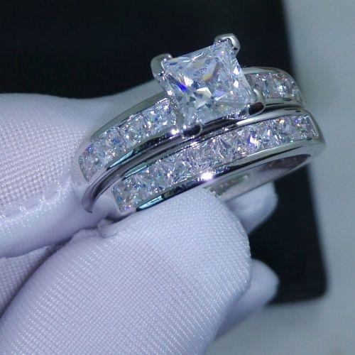Роскошный размер 5/6/7/8/9/10 ювелирные изделия 10kt белое золото заполненные Принцесса Cut Топаз моделируется Алмаз обручальное кольцо набор подарок с коробкой