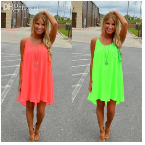 Wholesale-Summer Dress 2020 Sexy Backless Sling Strap Back Chiffon Beach Dress Party Women Clothing Vestido Backless Chiffon Dress