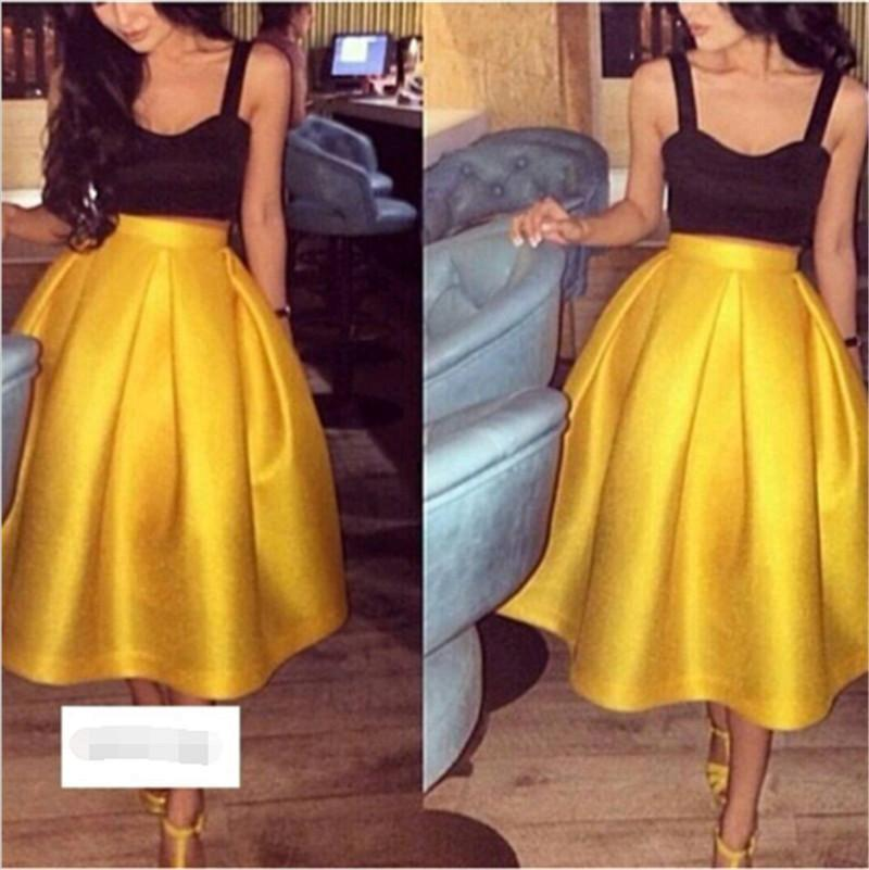 Fashion Satin Two Pieces Prom Dresses Gold Tea Length Puffy A Line Skirts With Black Crop Top Spaghetti Straps